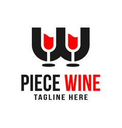 Two glasses wine logo with letter w vector