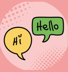 two speech bubbles drawn with hi and hello message vector image