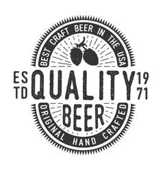 vintage monochrome craft beer emblem vector image
