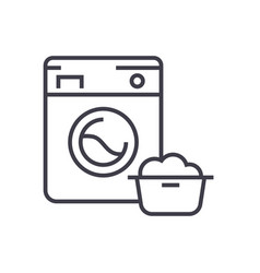 Washing machinelaundry service line icon vector