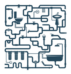 Water pipes plumbing connection system vector