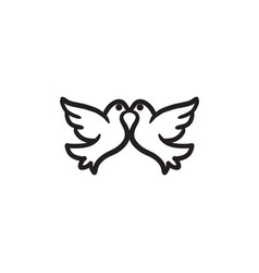 Wedding doves sketch icon vector