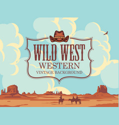Wild western banner with cloudy sky and cowboys vector
