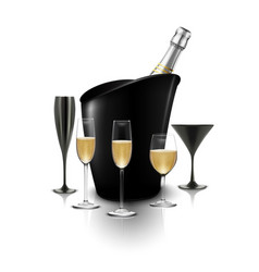 Wineglass and a bottle of champagne in a bucket vector