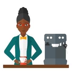 Woman making coffee vector image
