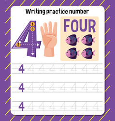 Writing practice number 4 worksheet vector