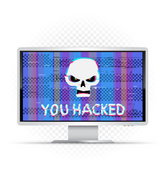 you hacked text on wide monitor vector image