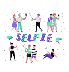 young people making selfie with smartphone flat vector image