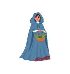 young woman in medieval dress holding basket of vector image