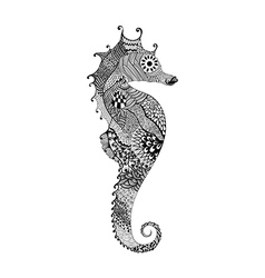 Zentangle stylized black Sea Horse Hand Drawn vector