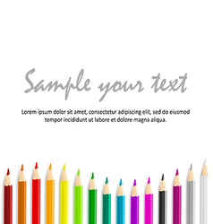 Concept idea with colorful pencils as bottom waved vector
