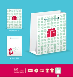 Modern soft color bag design with icon shopping vector image