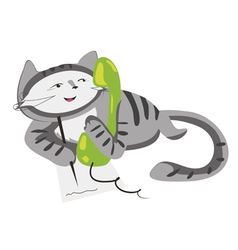 phone cat vector image