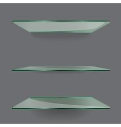 Realistic transparent glass shelves on light grey vector image