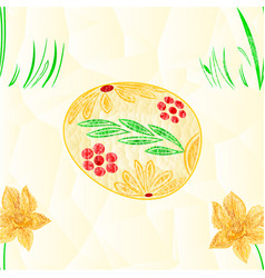seamless texture easter egg and daffodil polygons vector image vector image