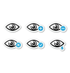 Eye sight icons set - vector image