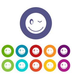 eyewink emoticon set icons vector image