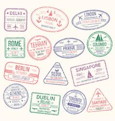 Passport stamp travel visa sign icon set vector
