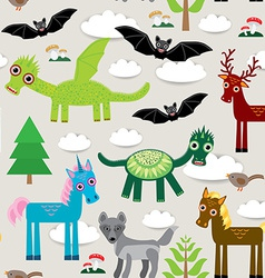 Seamless pattern with funny dragons bats unicorn vector image vector image
