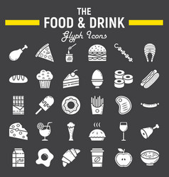 food and drink glyph icon set meal signs vector image vector image