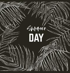 palm leaves frame black background vector image