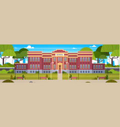 school building and empty front yard with green vector image