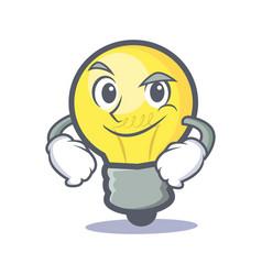 smirking light bulb character cartoon vector image vector image