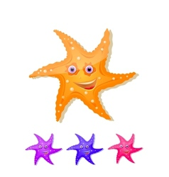 starfish with eyes and smile icon set vector image vector image