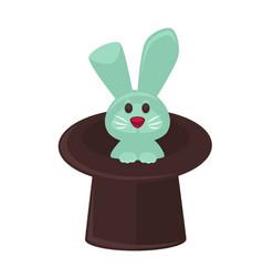 circus magician hat and bunny flat cartoon vector image