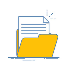 document in the folder icon paper sheet with vector image vector image