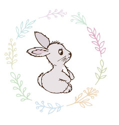doodle rabbit small postcard vector image vector image