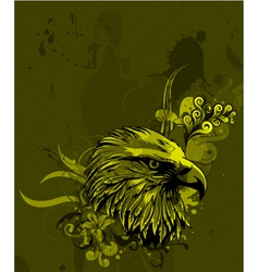 eagle head with floral background vector image