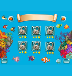 Game template with sea swimming underwater vector