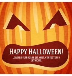 Happy halloween greeting card with carved pumpkin vector image