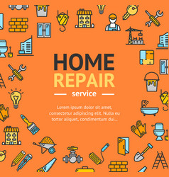home repair round design template line icon vector image vector image