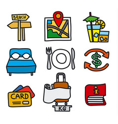 hotel and travel icon set vector image vector image