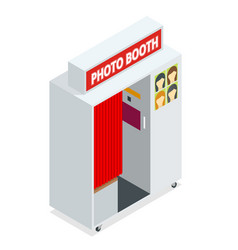 isometric compact photo booth flat 3d isometric vector image vector image