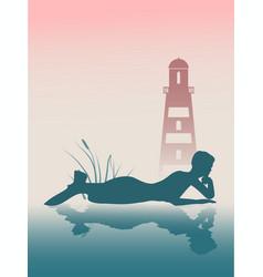 silhouette of beautiful mermaid vector image