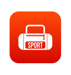 sports bag icon digital red vector image vector image