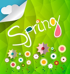 Spring Title on Triangle Green Background with vector image vector image