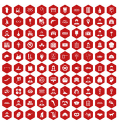 100 favorite work icons hexagon red vector image