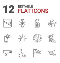 12 warning icons vector