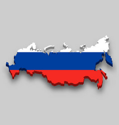 3d isometric map russia with national flag vector image