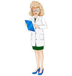 A female doctor with a chart vector image