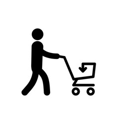 a simple icon of a man with cart vector image