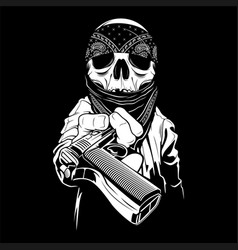 A skull wearing a bandana hands over a gun vector
