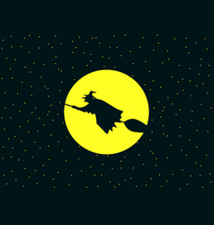 a witch flying on a broomstick against vector image vector image
