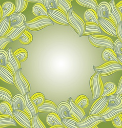 Abstract hand-drawn lines and waves green leaves vector