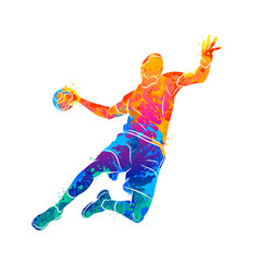Abstract handball player jumping with the ball vector