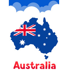 Australia map with flag and clouds vector